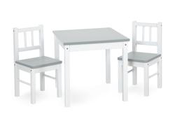 Obrazek PlusBaby CLASSIC Stolik+2 krzesła szare