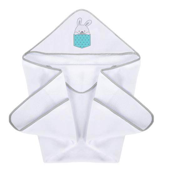 Obrazek PlusBaby Okrycie kąpielowe Zajączki turkus haft